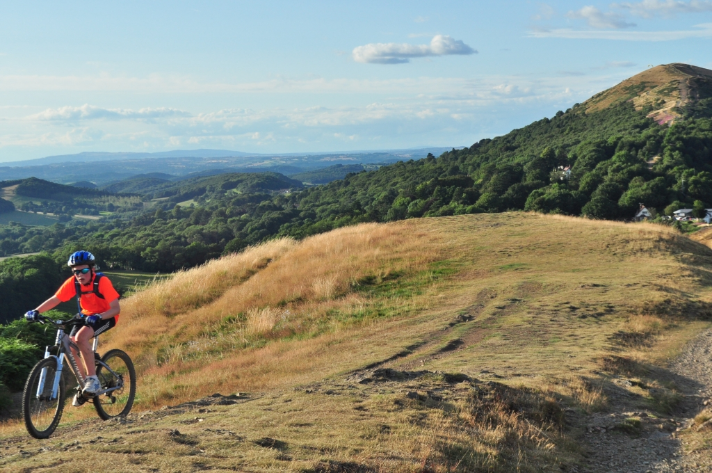 Mountain biking on the Malverns, one of many activities close to Worcester Glamping